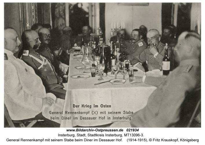 Insterburg, General Rennenkampf mit seinem Stabe beim Diner im Dessauer Hof