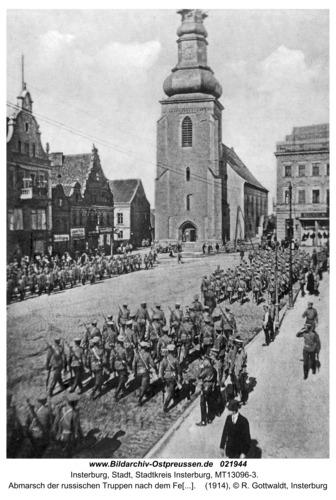 Insterburg, Abmarsch der russischen Truppen nach dem Feldgottesdienst