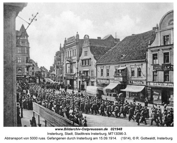 Insterburg, Abtransport von 5000 russ. Gefangenen durch Insterburg am 15.09.1914