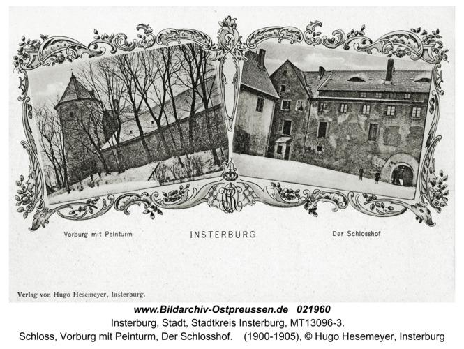 Insterburg, Schloss, Vorburg mit Peinturm, Der Schlosshof