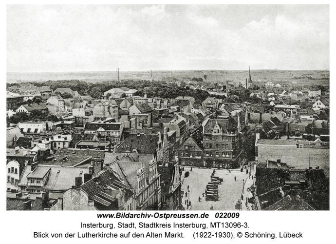 Insterburg, Blick von der Lutherkirche auf den Alten Markt