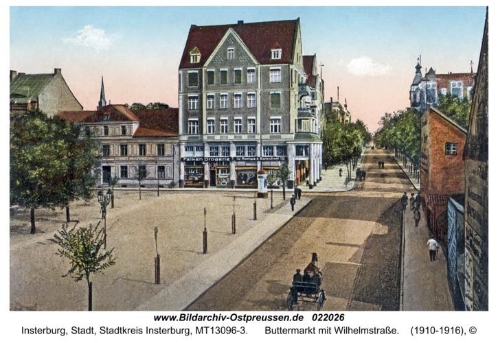Insterburg, Buttermarkt mit Wilhelmstraße
