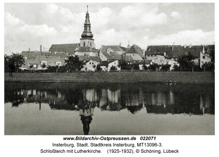 Insterburg, Schloßteich mit Lutherkirche