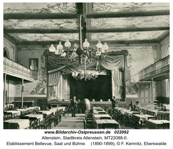 Allenstein, Etablissement Bellevue, Saal und Bühne