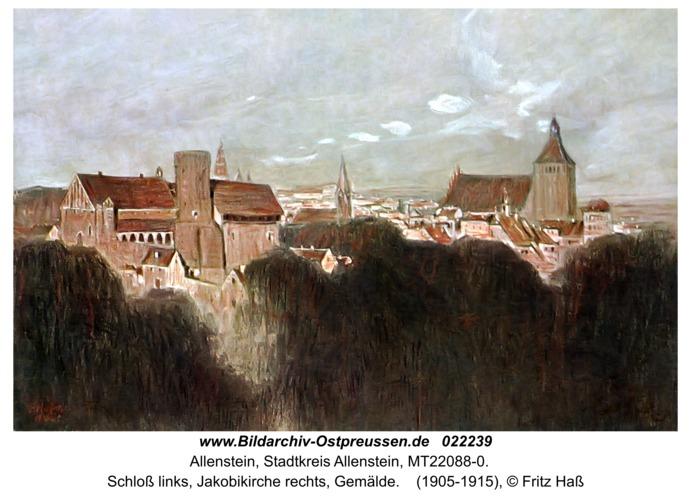 Allenstein, Schloß links, Jakobikirche rechts, Gemälde