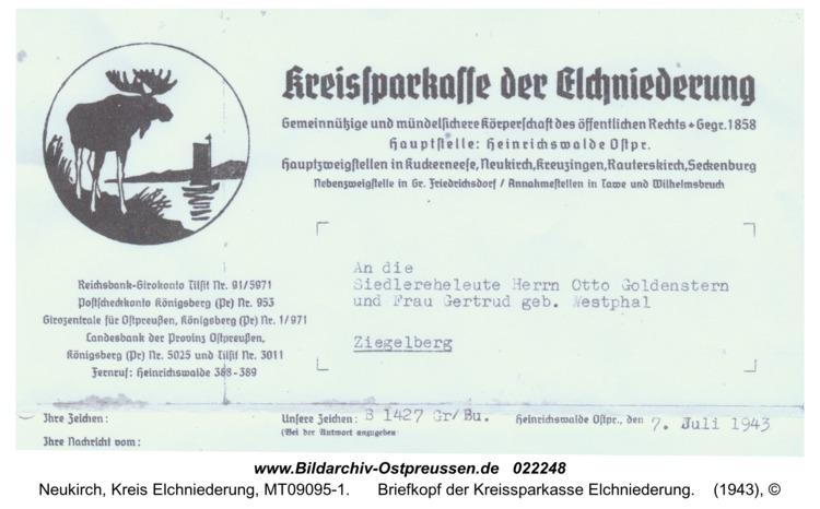 Neukirch, Briefkopf der Kreissparkasse Elchniederung