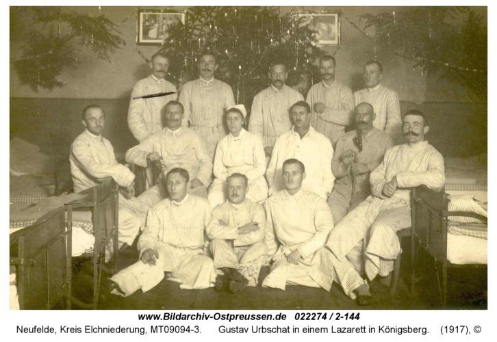 Neufelde, Gustav Urbschat in einem Lazarett in Königsberg