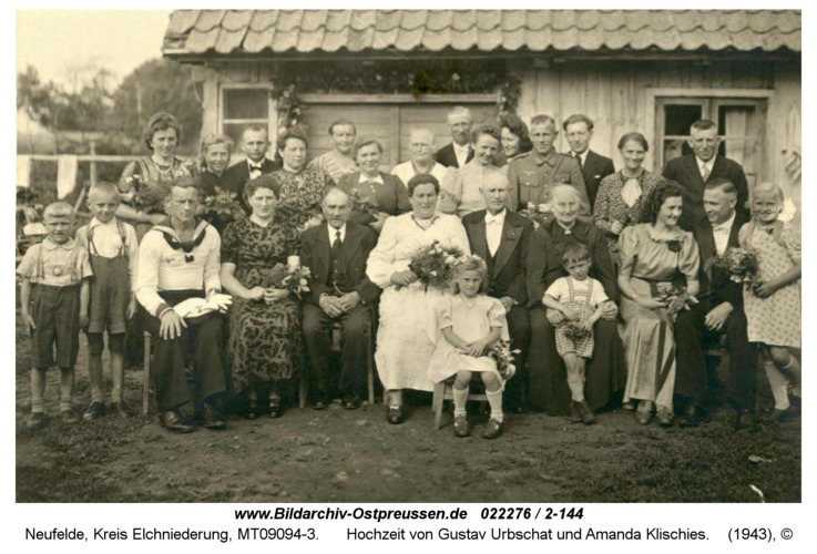 Neufelde, Hochzeit von Gustav Urbschat und Amanda Klischies