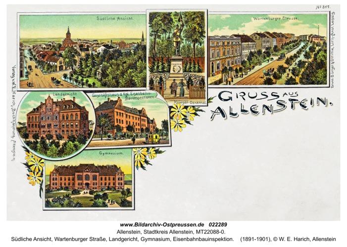 Allenstein, südliche Ansicht, Wartenburger Straße, Landgericht, Gymnasium, Eisenbahnbauinspektion