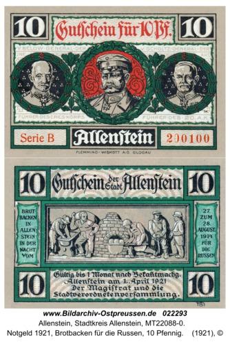 Allenstein, Notgeld 1921, Brotbacken für die Russen, 10 Pfennig