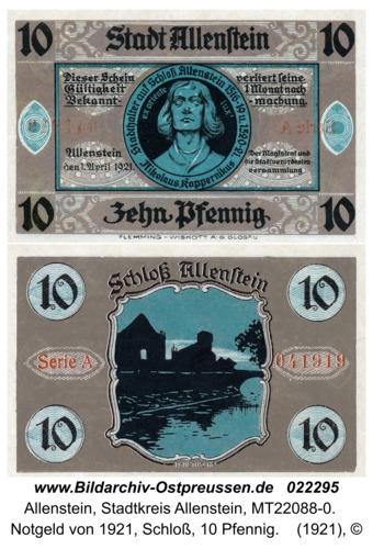 Allenstein, Notgeld von 1921, Schloß, 10 Pfennig