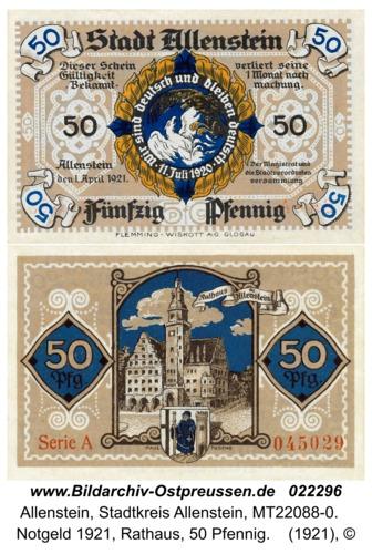 Allenstein, Notgeld 1921, Rathaus, 50 Pfennig