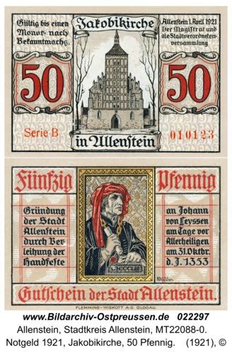 Allenstein, Notgeld 1921, Jakobikirche, 50 Pfennig