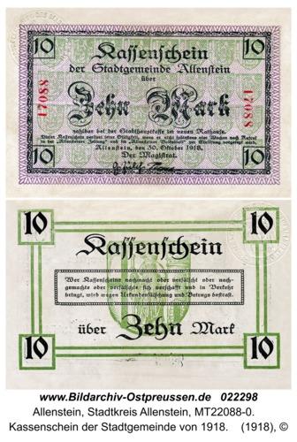 Allenstein, Kassenschein der Stadtgemeinde von 1918
