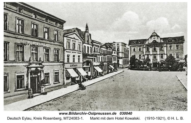 Deutsch Eylau, Markt mit dem Hotel Kowalski
