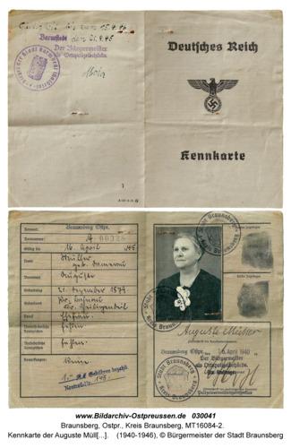 Braunsberg, Kennkarte der Auguste Müller geb. Damerau; Mutter von Heinz Müller aus Braunsberg