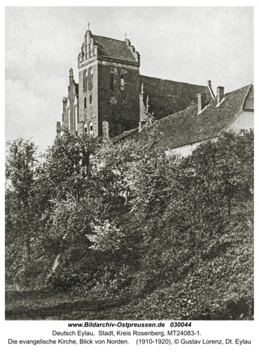 Deutsch Eylau, Die evangelische Kirche, Blick von süd-west