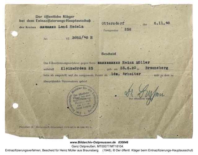 Ganz Ostpreußen, Entnazifizierungsverfahren, Bescheid für Heinz Müller aus Braunsberg