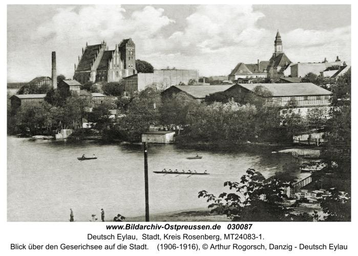 Deutsch Eylau, Blick über den Geserichsee auf die Stadt