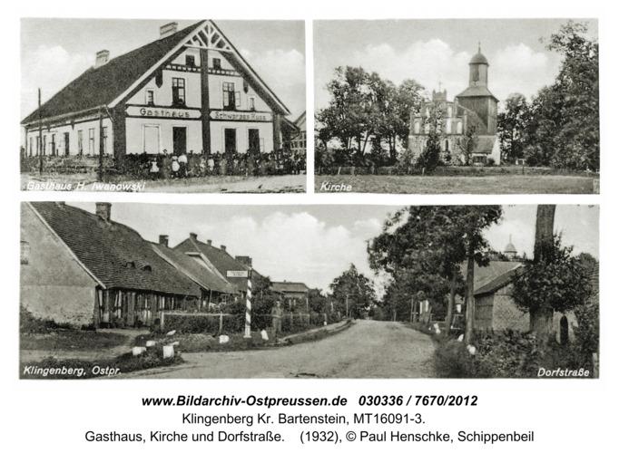 Klingenberg Kr. Bartenstein, Gasthaus, Kirche und Dorfstraße