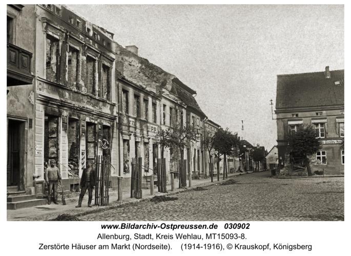 Allenburg, Zerstörte Häuser am Markt (Nordseite)