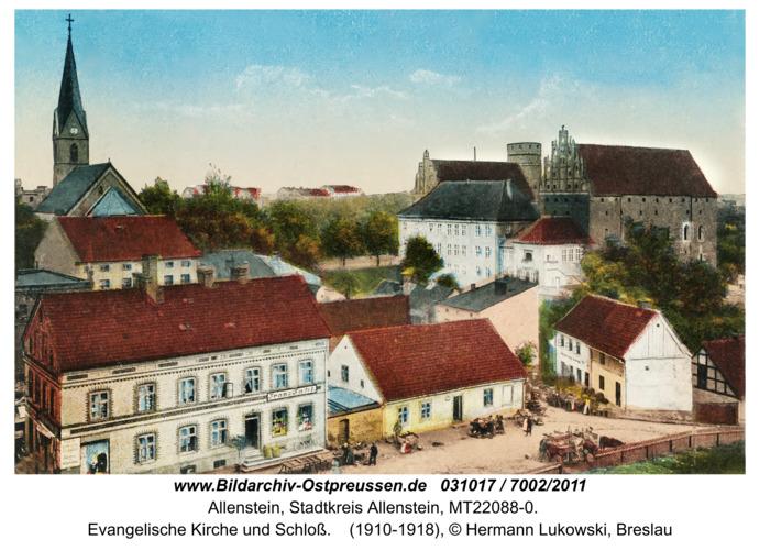 Allenstein, Evangelische Kirche und Schloß