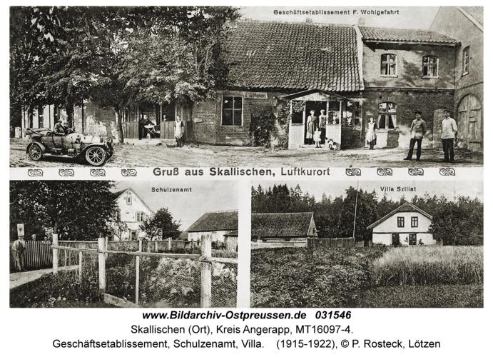 Skallischen Kr. Angerapp (Ort), Geschäftsetablissement, Schulzenamt, Villa