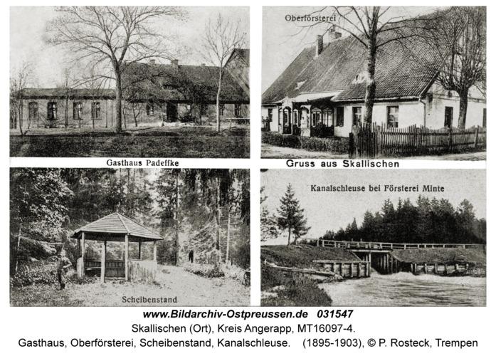 Skallischen Kr. Angerapp, Gasthaus, Oberförsterei, Scheibenstand, Kanalschleuse