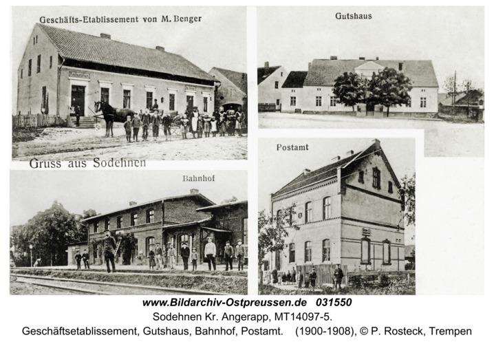 Sodehnen Kr. Angerapp, Geschäftsetablissement, Gutshaus, Bahnhof, Postamt