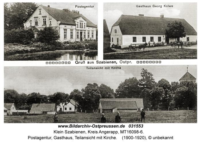 Klein Szabienen, Postagentur, Gasthaus, Teilansicht mit Kirche