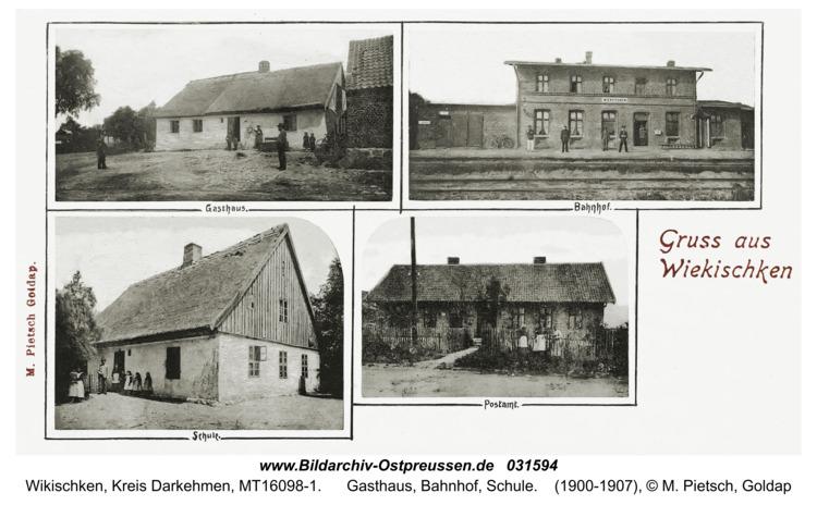 Wiekischken (Wiecken), Gasthaus, Bahnhof, Schule