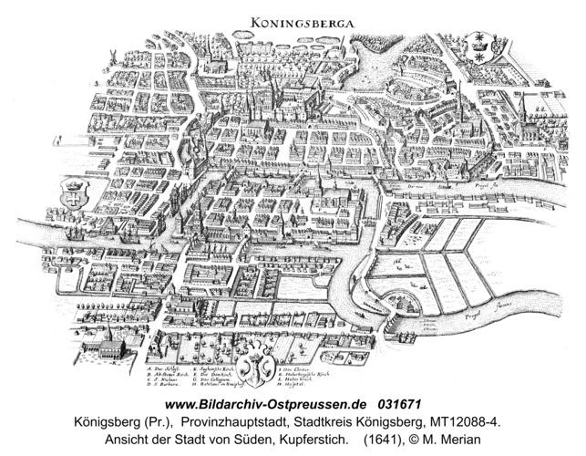 Königsberg (Pr.), Ansicht der Stadt von Süden, Kupferstich