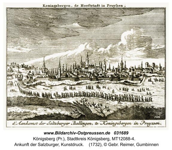 Königsberg (Pr.),  Ankunft der Salzburger, Kunstdruck