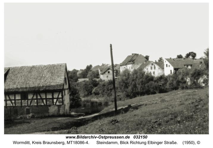 Wormditt, Steindamm, Blick Richtung Elbinger Straße