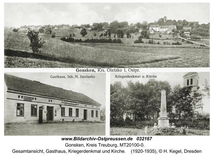 Gonsken, Gesamtansicht, Gasthaus, Kriegerdenkmal und Kirche