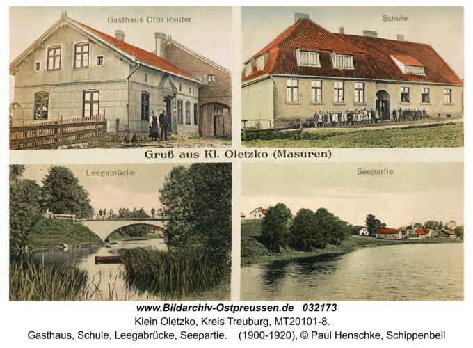 Klein Oletzko, Gasthaus, Schule, Leegabrücke, Seepartie