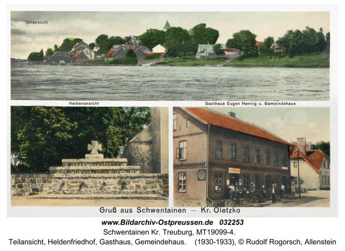 Schwentainen Kr. Treuburg, Teilansicht, Heldenfriedhof, Gasthaus, Gemeindehaus