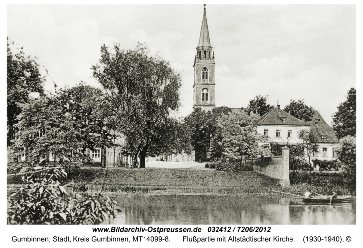 Gumbinnen, Flußpartie mit Altstädtischer Kirche