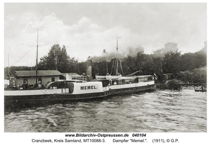 """Cranzbeek, Dampfer """"Memel."""""""