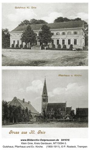 Kleingnie, Gutshaus, Pfarrhaus und Kirche