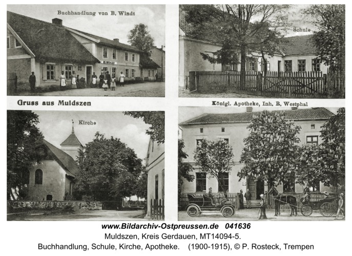 Muldszen, Buchhandlung, Schule, Kirche, Apotheke