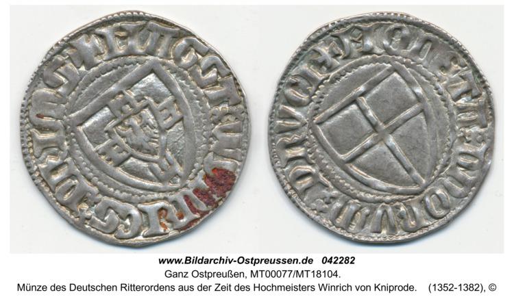Ostpreußen, Münze des Deutschen Ritterordens aus der Zeit des Hochmeisters Winrich von Kniprode
