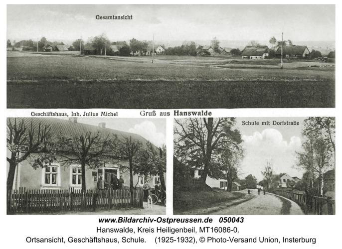 Hanswalde, Ortsansicht, Geschäftshaus, Schule