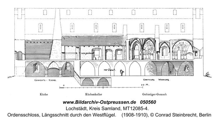 Lochstädt, Ordensschloss, Längsschnitt durch den Westflügel