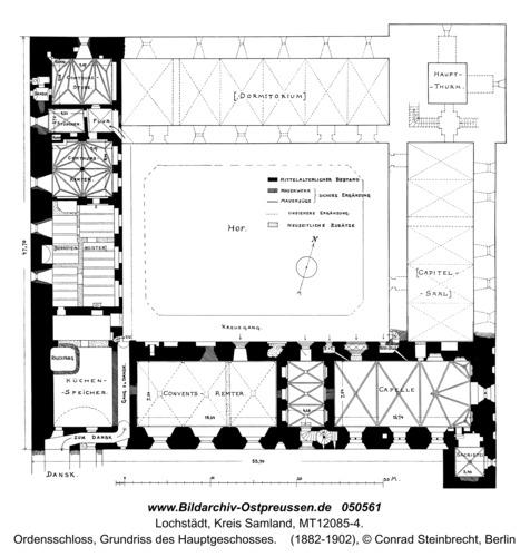 Lochstädt, Ordensschloss, Grundriss des Hauptgeschosses