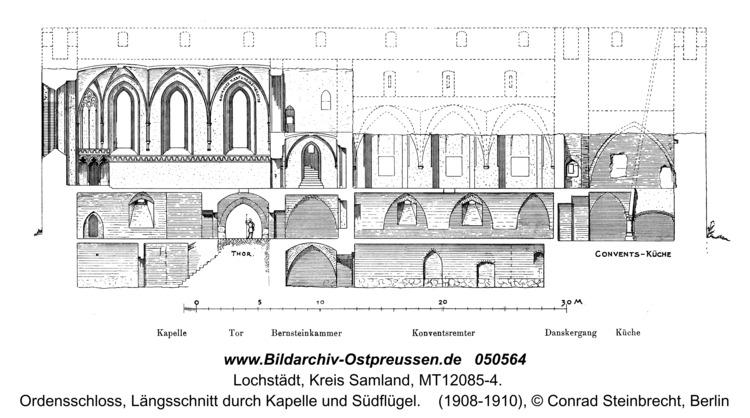 Lochstädt, Ordensschloss, Längsschnitt durch Kapelle und Südflügel