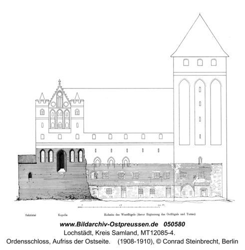 Lochstädt, Ordensschloss, Aufriss der Ostseite
