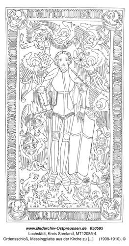 Lochstädt, Ordensschloss, Messingplatte aus der Kirche zu Neumark (Westpr.), Harnischform wie bei den Lochstädter Rittern