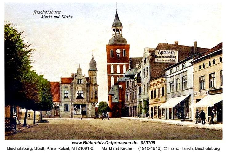 Bischofsburg, Markt mit Kirche