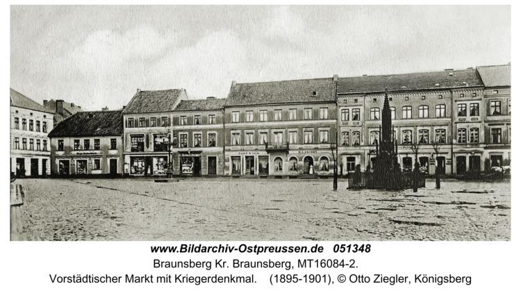 Braunsberg, Vorstädtischer Markt mit Kriegerdenkmal